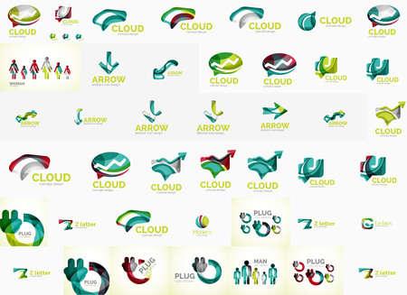 Speech bubble and arrows logo set Vector