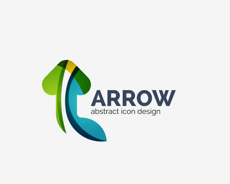 Clean moden wave design arrow logo Ilustração