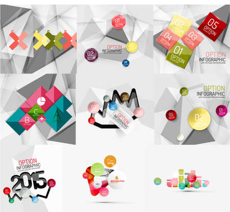 creative background: Set of paper graphic infographic modern template