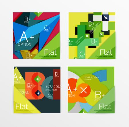 variant: Flat design square shape infographic banner