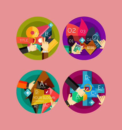 variant: Set of flat design circle infographic icons