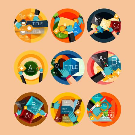 Set of flat design circle option infographics concepts Vector