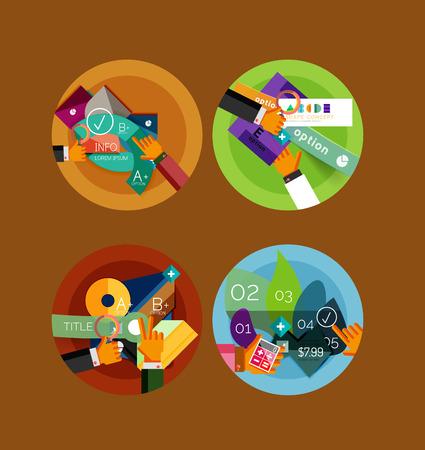 Set of flat design circle infographic icons Vector