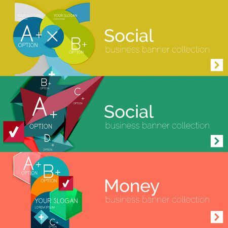 Flat design vector infographic banners with geometric infographics Vector