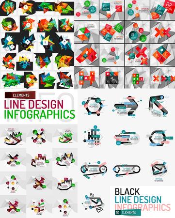 Vector mega set of modern business infographic templates Vector