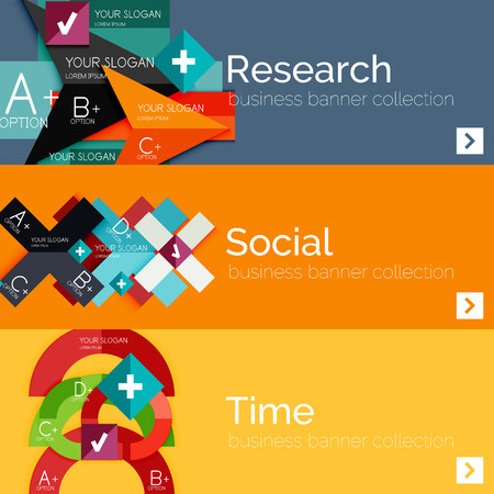 Flat design infographic banners with geometric infographics Vector