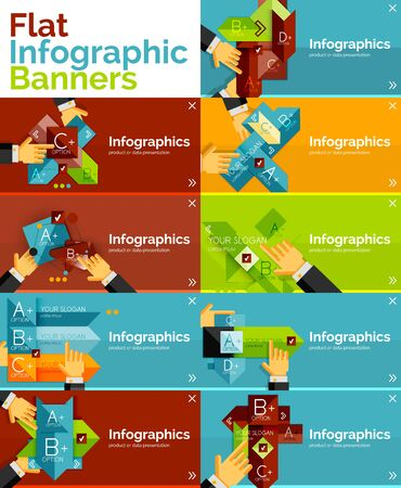 Set of infographic flat design banner with hands Vector