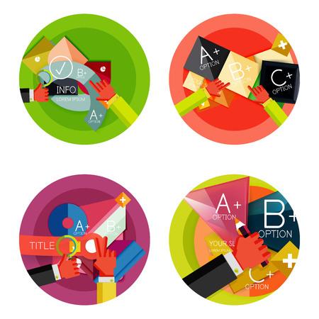 Set of option presentation labels, flat design web infographic boxes