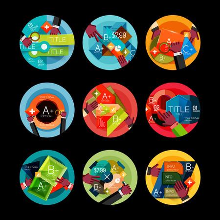 Set of option presentation labels, flat design web infographic boxes Vector