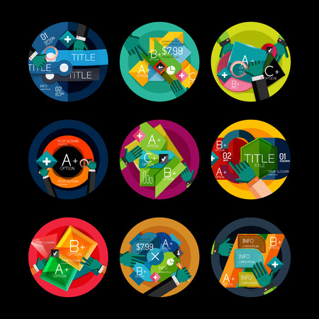 Set of flat design circle option infographics concepts Vector