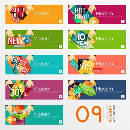 Set of banners with stickers, labels and elements for sale Vector