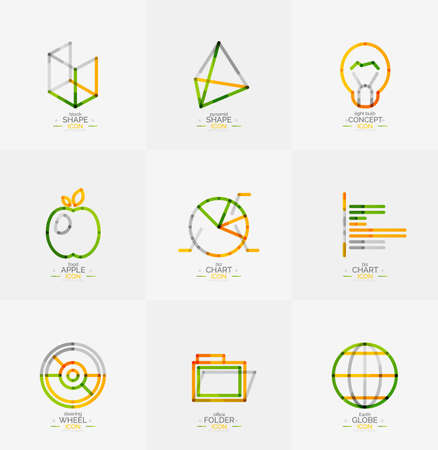 thin bulb: Minimal thin line design web icon set