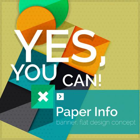 slogan: Flat design square banner with slogan