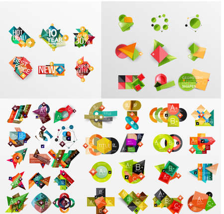 mega: Mega collection of paper graphic banners, labels