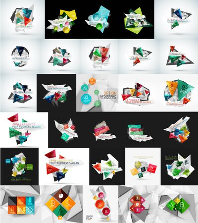 web banner: Mega set of abstract geometric web banner decorations