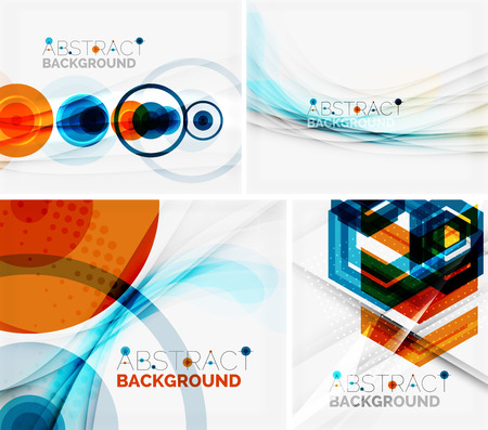 abstract waves: Set of abstract geometric backgrounds. Waves, triangles, lines