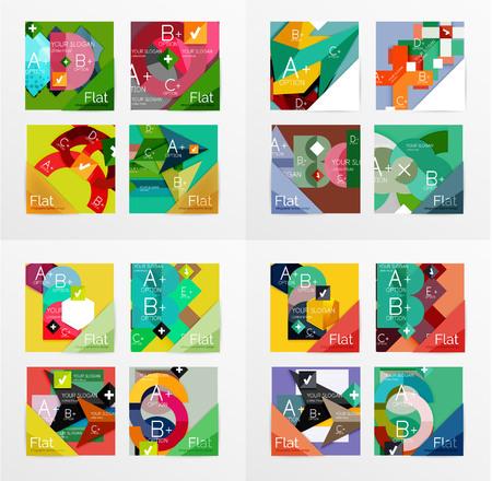 Flat design geometric info banners, web boxes Vector