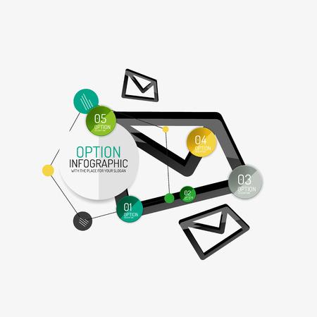 design office: Minimal line design office web infographics