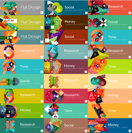 Headers, flat design option infographic banners Vector