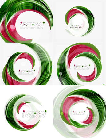 green swirl: Vector green swirl line abstract background