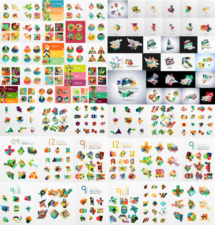 Super-Mega Reihe von abstrakten geometrischen Papier Grafik Layouts Standard-Bild - 38917806