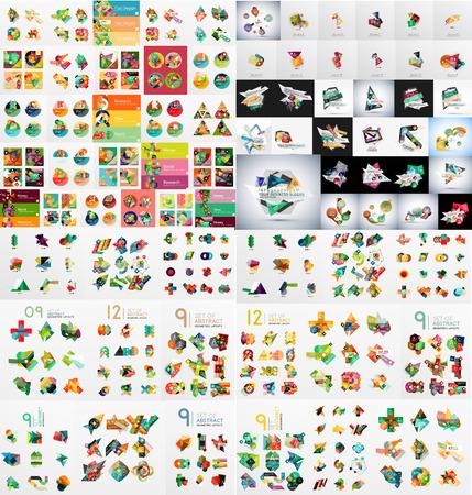 Super mega set van abstracte geometrische papier grafische lay-outs