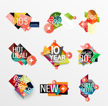 Set of labels, stickers, banners, badges and elements for sale Vector