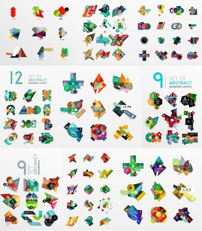Set of abstract paper elements, infographics templates, presentation, banners Vector