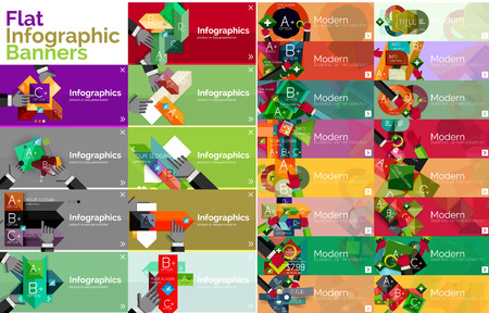 Mega collection of flat web infographic concepts and banners, various universal set Vector