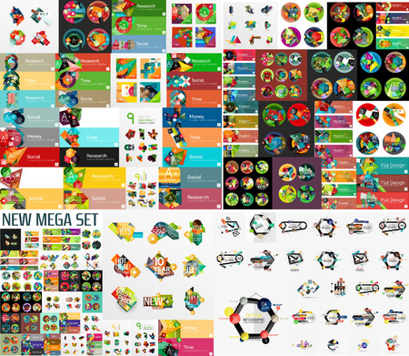 Super mega set of abstract geometric paper graphic layouts Vector
