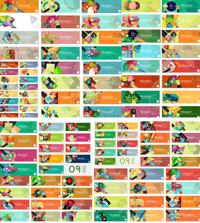 Mega set of universal web option infographic banners Vector