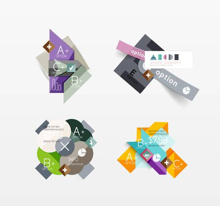 Set of vector abstract geometric layout Illustration