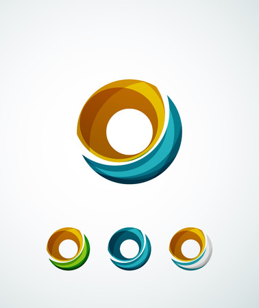 Letter company logo design. Clean modern abstract concept made of overlapping flowing wave shapes Vector