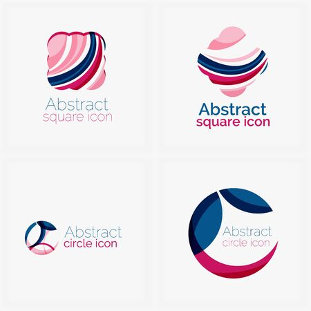 Clean elegant circle shaped abstract geometric icons Vector