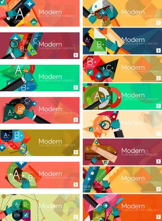 Banner infografici di design piatto moderno