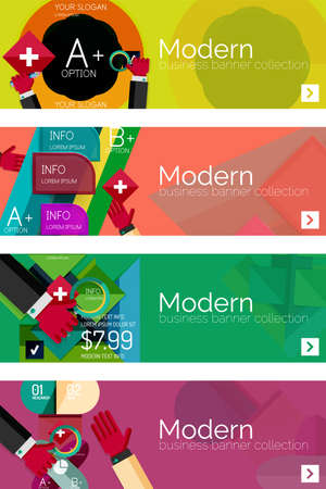 Collection of flat web infographic concepts and banners, various universal set Vector