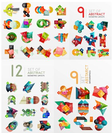 Mega collection of paper graphic banners, labels Vector
