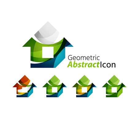 residential homes: Set of abstract geometric company logo home, house, building