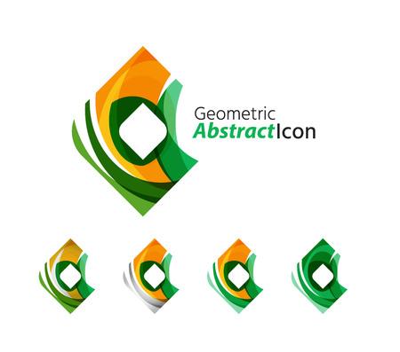 rhomb: Set of abstract geometric company icon square, rhomb