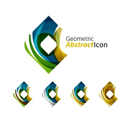 rhomb: Set of abstract geometric company icon square, rhomb