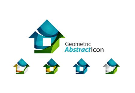 Set of abstract geometric company logo home, house, building Vector