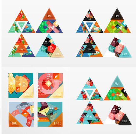 Modern geometric design temlates, universal diagram, banner, number options, workflow layout, steps, web elements