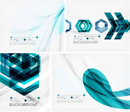 Set of abstract geometric backgrounds. Waves, triangles, lines Vector