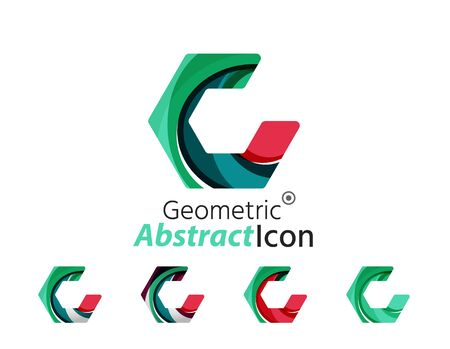 Set of abstract geometric company logo hexagon shapes Vector