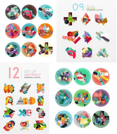 workflow: Modern geometric design temlates, universal diagram, banner, number options, workflow layout, steps, web elements