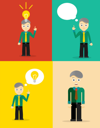 great idea: Young businessman thinking about his ideas. Set of flat design concepts