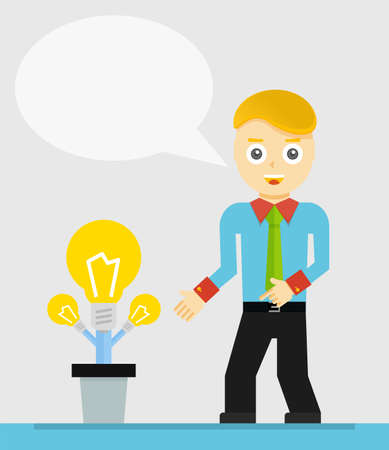 new idea: Young businessman talking about his new idea. Growing light bulbs, startup concept
