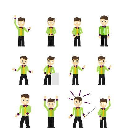 Set of cute young businessmen character poses isolated on white Vector