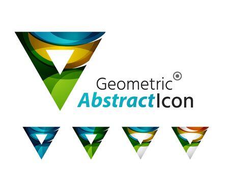 Set of abstract geometric company logo triangles, arrows Vector