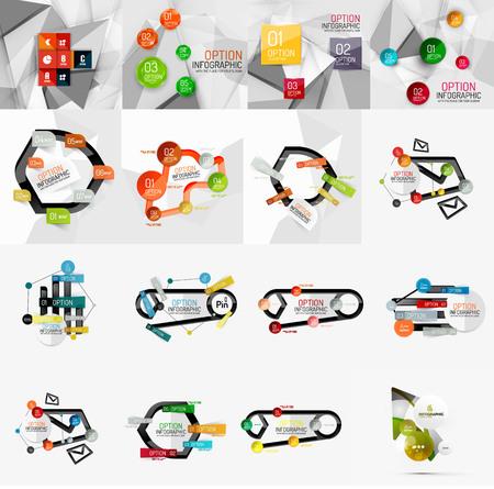 versions: Set of light, paper design option infographic banner templates Illustration
